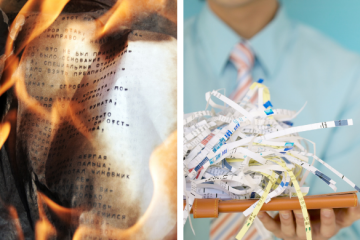 shredding or burning paper