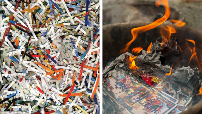 shredding or burning paper